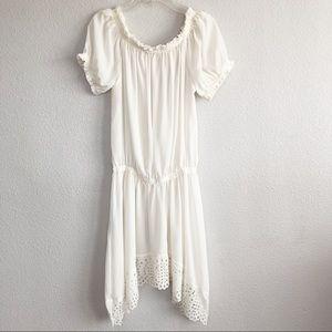 Bohemian Off-White Asymmetrical Sheer Dress